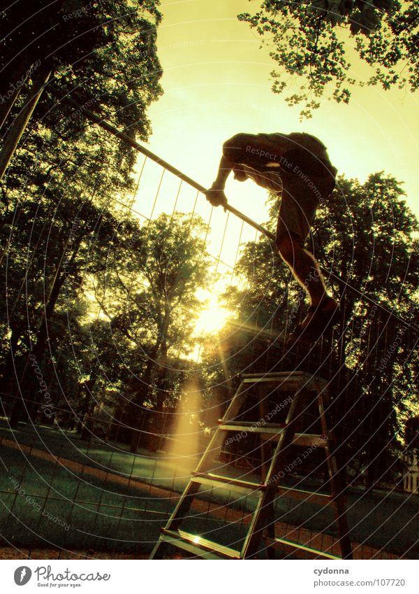 Einmal Luftlinie, bitte! III Mensch Mann Natur grün Sonne Einsamkeit Wiese Wand oben Junge Wege & Pfade Garten springen Park Arbeit & Erwerbstätigkeit Kraft