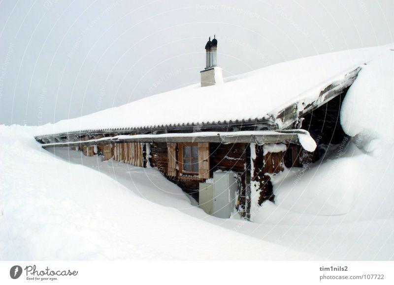 Eingeschneit in einsamer Berghütte Österreich Haus Winter Ferien & Urlaub & Reisen Winterurlaub Sandverwehung Schneelandschaft kalt Schneesturm Einsamkeit
