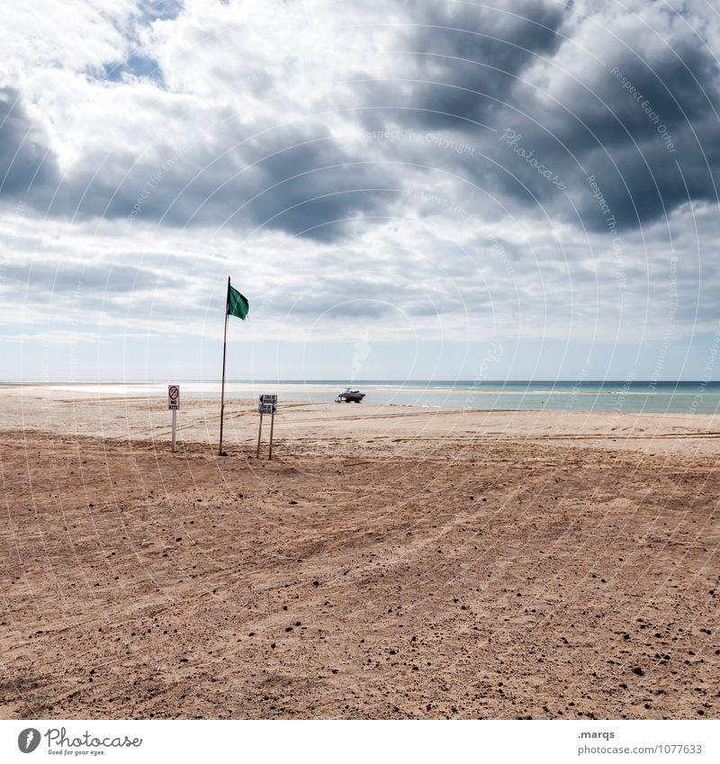 Wetter Ferien & Urlaub & Reisen Ferne Umwelt Natur Urelemente Himmel Gewitterwolken Horizont Sommer Klima schlechtes Wetter Wind Strand Schilder & Markierungen