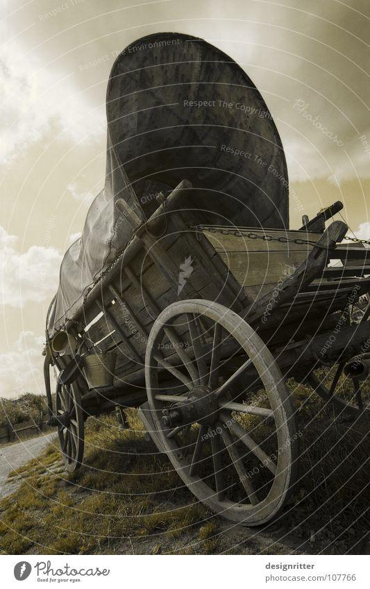 abgespannt Wagen Pferdefuhrwerk Wagenräder Planwagen Nervosität Müdigkeit Siedler von Catan Amerika Wilder Westen Auswanderer entdecken unbenutzt alt