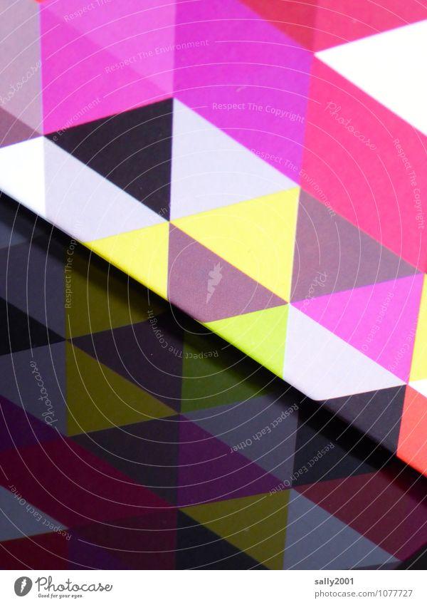 ums Eck... Dekoration & Verzierung Ornament ästhetisch eckig gelb rosa schwarz Kunst Netzwerk Dreieck Muster Ecke Reflexion & Spiegelung Karton Design abstrakt