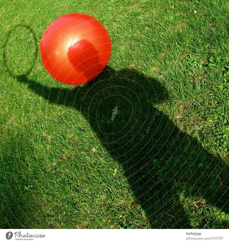 schattendenker Mensch rot Spielen träumen Denken Luft Religion & Glaube planen Erde Ball Zukunft fahren USA Rasen liegen Kugel