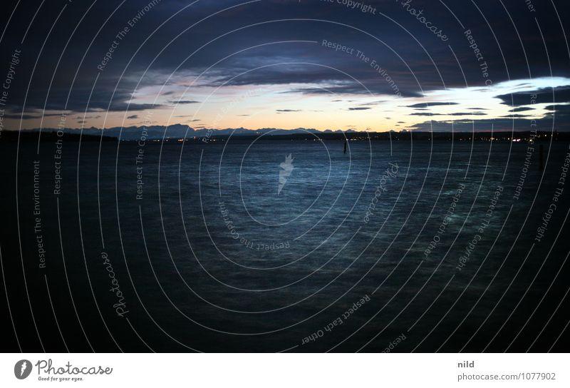 stürmische (ammer)see Natur blau Wasser Landschaft dunkel schwarz kalt Umwelt Berge u. Gebirge Herbst Gefühle See Horizont Wetter Wellen Wind