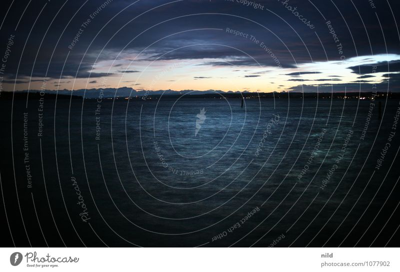 stürmische (ammer)see Umwelt Natur Landschaft Wasser Gewitterwolken Nachthimmel Horizont Sonnenaufgang Sonnenuntergang Herbst Wetter Wind Sturm Alpen