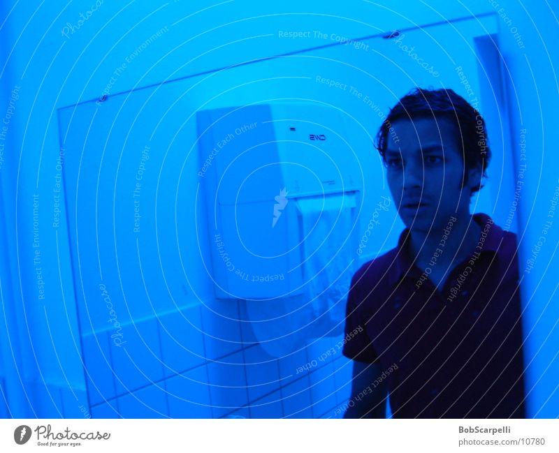 i'm done Spiegel Spiegelbild fertig Bad blau Toilette