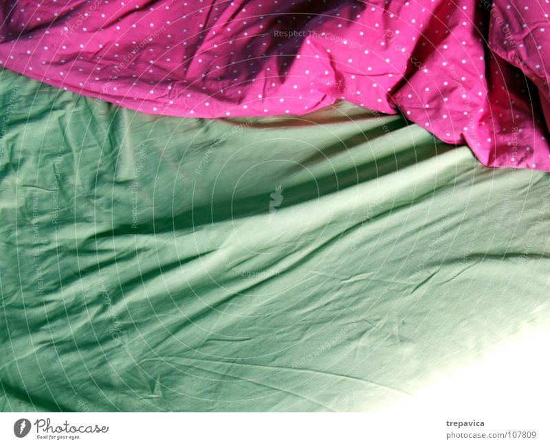 bett I Bett schlafen Bettwäsche grün rosa aufwachen leer Bettdecke ruhig Erholung träumen angenehm Raum mehrfarbig Häusliches Leben Morgen Decke schlafzimer bed