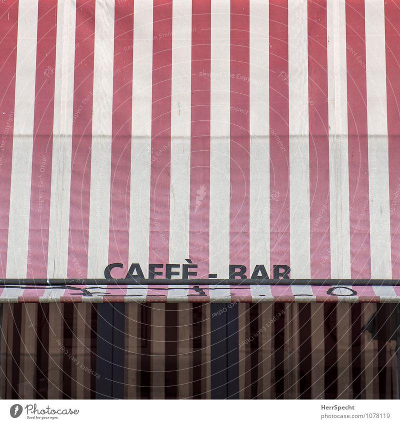Caffè - Bar Ferien & Urlaub & Reisen Cocktailbar Italienisch Stadt Schriftzeichen retro rot weiß Café Terrasse Markise gestreift Detailaufnahme Straßencafé