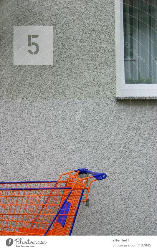 orange five Stadt blau ruhig Haus Fenster grau orange Ziffern & Zahlen verfallen 5 Müdigkeit Teilung Langeweile Anordnung Anschnitt Einkaufswagen
