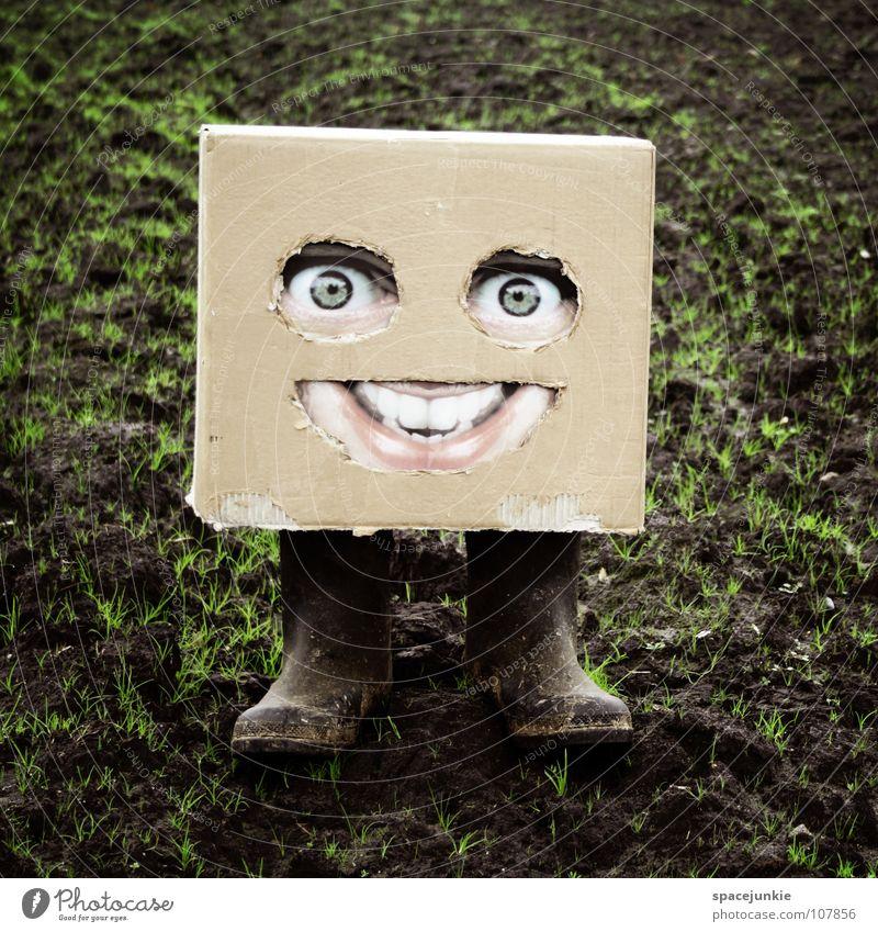 Auf dem Lande Karton skurril Humor Freak Quadrat Dorf Feld Stiefel Gummistiefel Freude Gesicht Maske Versteck verstecken Amerika Erde