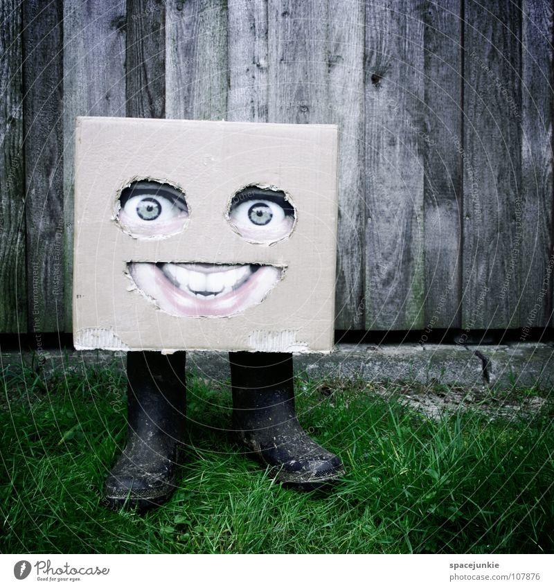 Auf dem Lande (2) Karton skurril Humor Freak Quadrat Dorf Feld Stiefel Gummistiefel Wand Holz grün Freude Gesicht Maske Versteck verstecken Amerika Erde