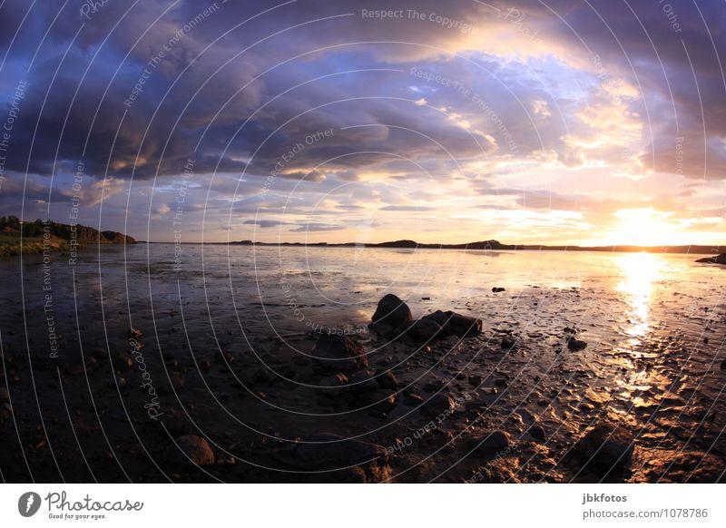 ISLAND / Borgarnes Umwelt Natur Landschaft Pflanze Urelemente Erde Luft Wasser Himmel Horizont Sonnenaufgang Sonnenuntergang Sonnenlicht Klima Schönes Wetter