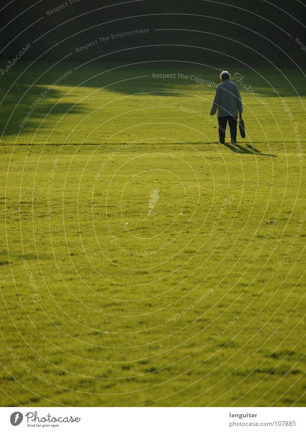 Lonesome Mensch Frau grün Baum Einsamkeit schwarz Ferne dunkel Wiese Herbst Senior Wege & Pfade hell Park Linie nass