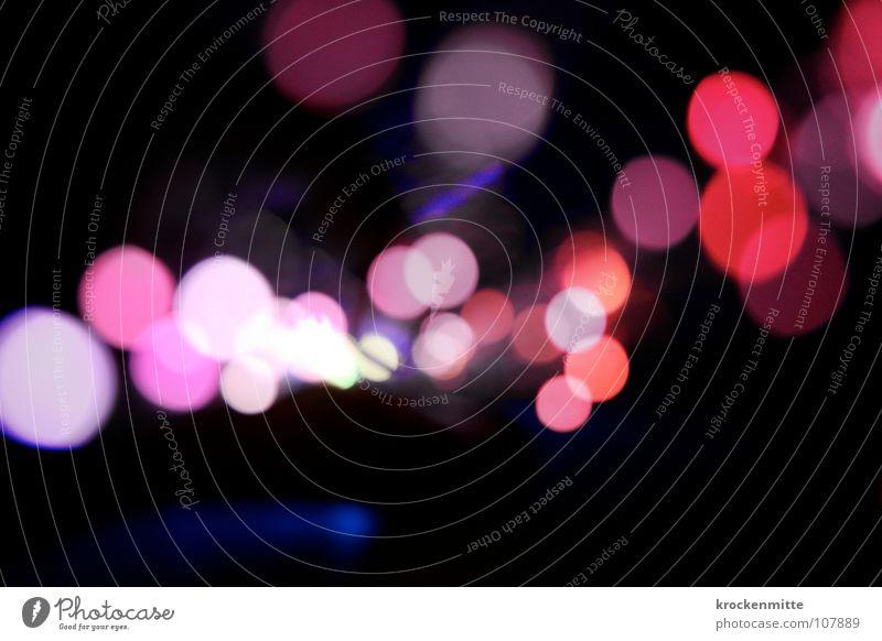 Lichtblicke rot Farbe Lampe rosa Kreis Punkt Ausgang Nachtleben Lichterkette abstrakt
