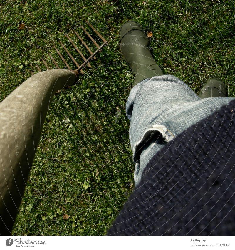 stadtmensch? Forke Gartenarbeit Landleben Wiese Pullover Pause Gummistiefel Arbeit & Erwerbstätigkeit Feldarbeit Landarbeiter Landwirt Amerika Rasen Jeanshose