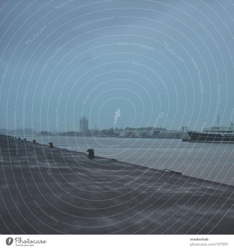 2 *GANZLEISERTROMMELWIRBEL* Stadt Nebel schlechtes Wetter Anlegestelle Wasserfahrzeug Himmel Wolken nass Rotterdam Niederlande Asphalt Schifffahrt Regen Sturm