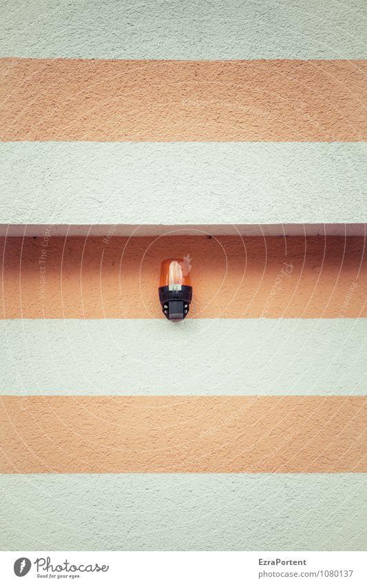 Fassadenalarm Haus Bauwerk Gebäude Mauer Wand Beton Linie Streifen leuchten ästhetisch eckig hell orange weiß Design Alarm Alarmanlage Warnleuchte Ecke