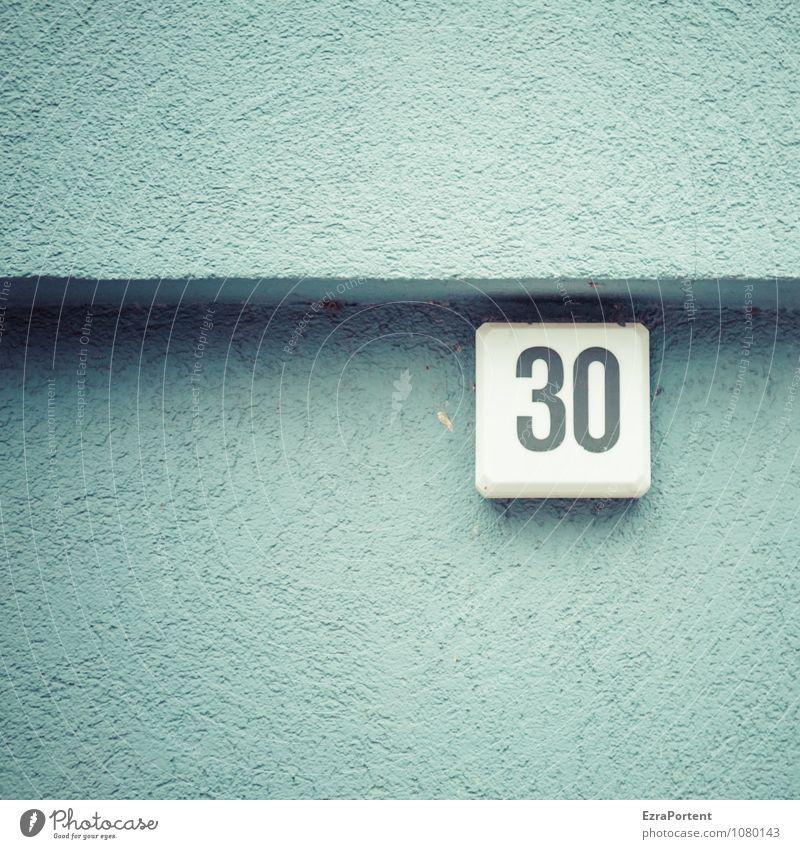 dreißig Haus Bauwerk Gebäude Mauer Wand Fassade Beton Zeichen Ziffern & Zahlen blau weiß Farbe 30 Lampe Ecke Schatten Design Grafik u. Illustration