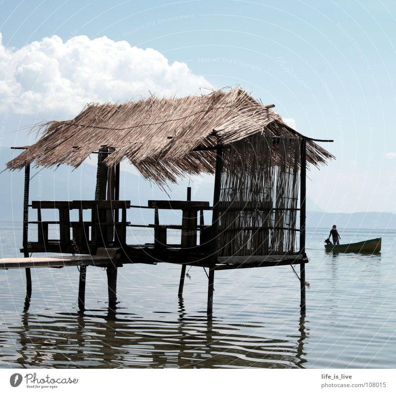 _place_to_chill_out_ Wasser schön blau Sommer Ferien & Urlaub & Reisen ruhig Haus Wolken Einsamkeit Erholung träumen nass rein Hütte genießen gemalt