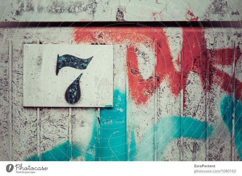 sieben Metall Zeichen Ziffern & Zahlen Graffiti Linie Streifen dreckig trashig blau grau rot 7 Grafik u. Illustration Grafische Darstellung graphisch Design