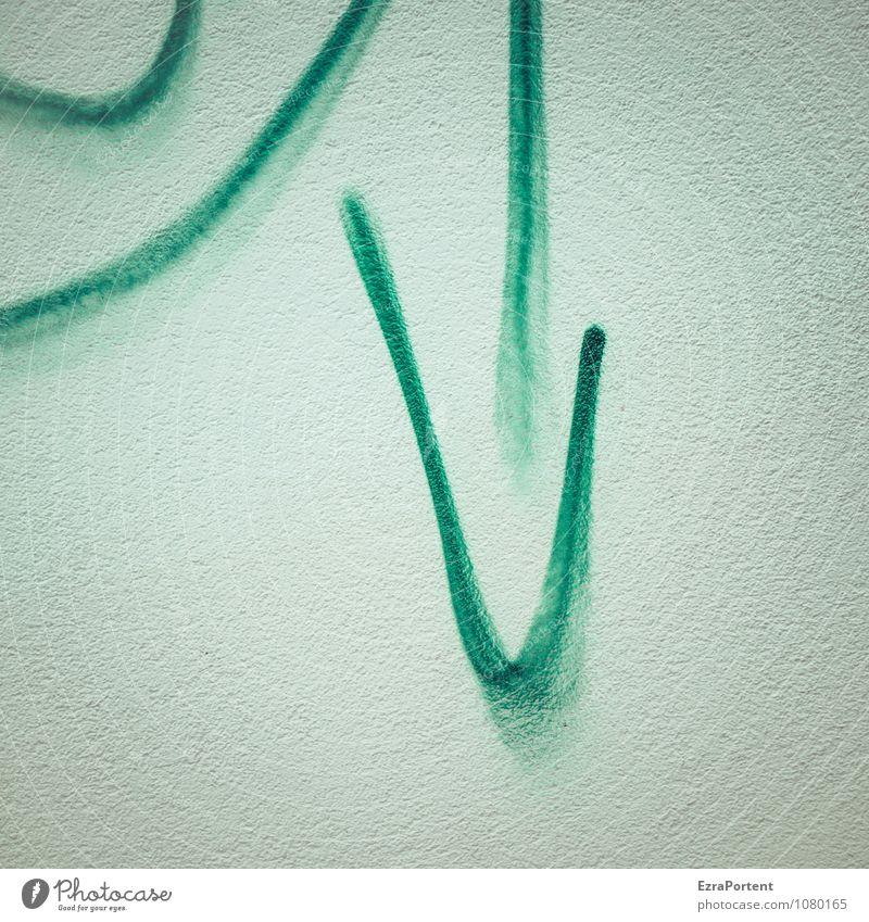 Tendenz Kunst Haus Bauwerk Gebäude Mauer Wand Fassade Beton Zeichen Graffiti Linie Pfeil grün weiß Enttäuschung Angst Stress Design Ende Sorge Stimmung Richtung