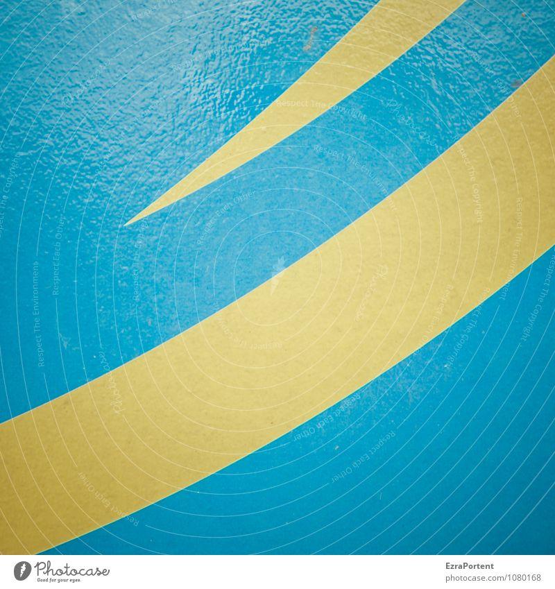 in See stechen Metall Zeichen Linie Streifen leuchten blau gelb Design Farbe Spitze Schwung Grafik u. Illustration Grafische Darstellung graphisch