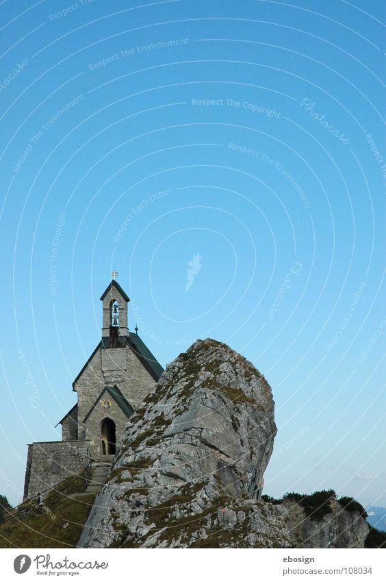felskirche Religion & Glaube Himmel blau Stein Felsen Berge u. Gebirge Bayern Abend Sonnenuntergang Ausflug Gebet Seilbahn wandern Bergsteigen Aussicht Ferne