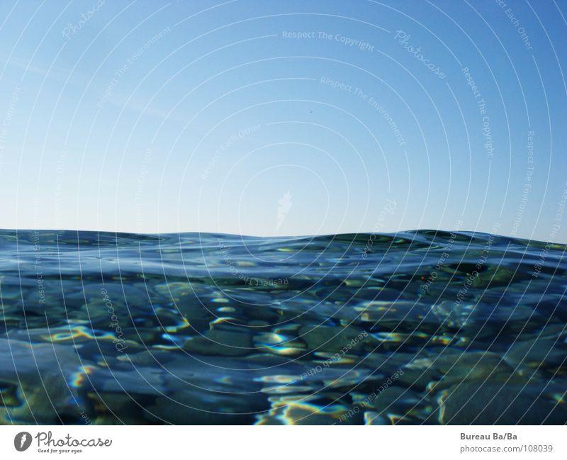 Achtung Quallen! Meer Frankreich salzig Wellen Sonnenstrahlen Horizont Wasser blau Himmel Salz dumme fiecher Stein
