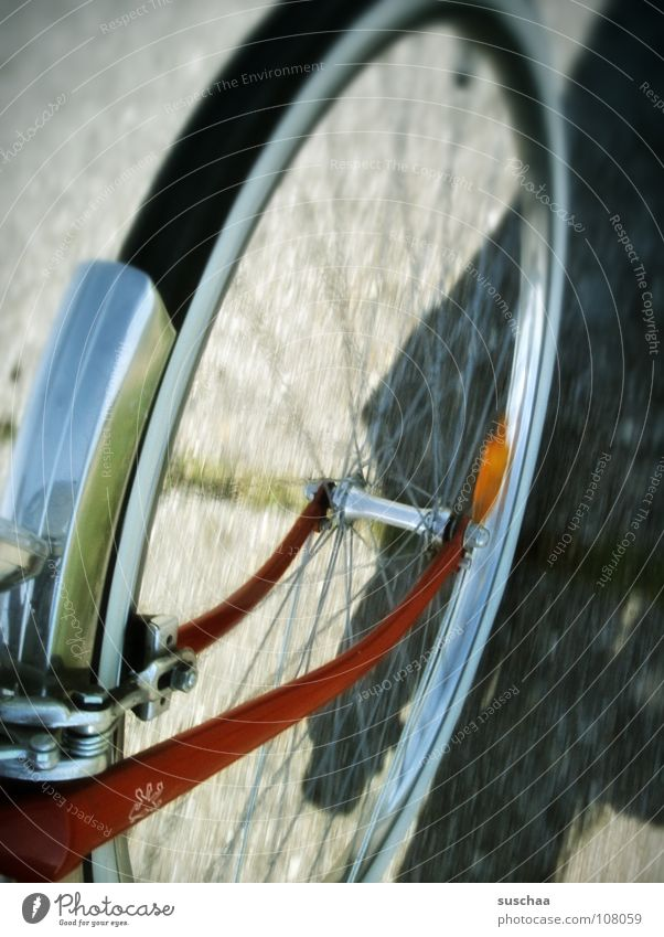 rad ab? rot Straße Wege & Pfade Geschwindigkeit fahren Freizeit & Hobby Asphalt Fahrrad drehen langsam Speichen Schutzblech