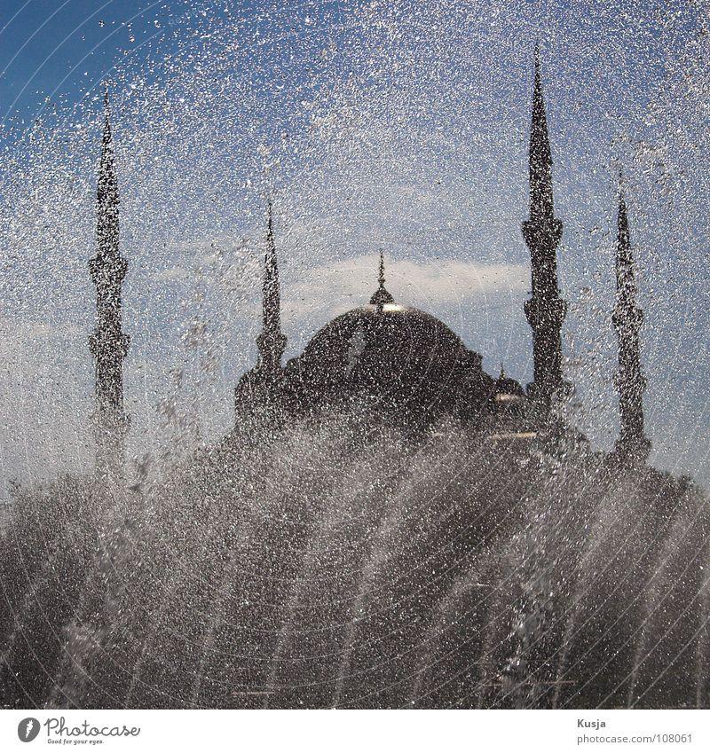 Sultan-Ahmet-Moschee Himmel alt Wasser blau Sonne schwarz Religion & Glaube Turm rund Brunnen Fliesen u. Kacheln historisch spritzen Islam Istanbul Blaue Moschee