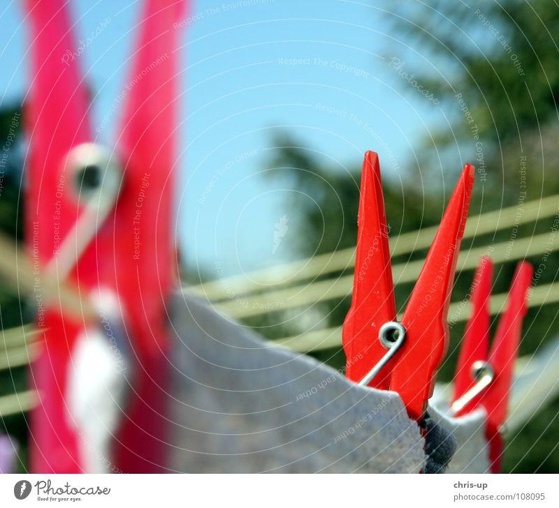 Wäschetrockner II weiß blau rot Arbeit & Erwerbstätigkeit Garten Seil Bekleidung Sauberkeit rein Dienst Wäsche Haushalt Blauer Himmel Aluminium Waschmaschine trocknen