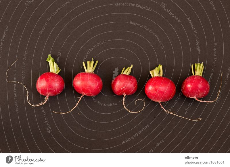 Kapriolen grün rot schwarz grau Lebensmittel Ernährung Gemüse knackig Radieschen
