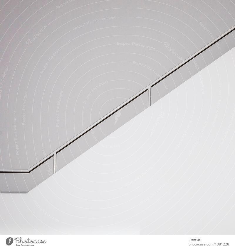 Aufstieg elegant Stil Design Innenarchitektur Karriere Mauer Wand Treppengeländer Linie ästhetisch einfach hell modern weiß Ordnung rein steril Schwarzweißfoto