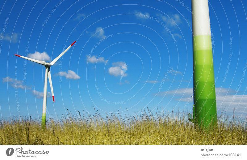 Windtürmchen schön Himmel weiß grün blau rot Sommer ruhig Wolken Farbe Bewegung Frühling Wärme Luft 2 Kraft