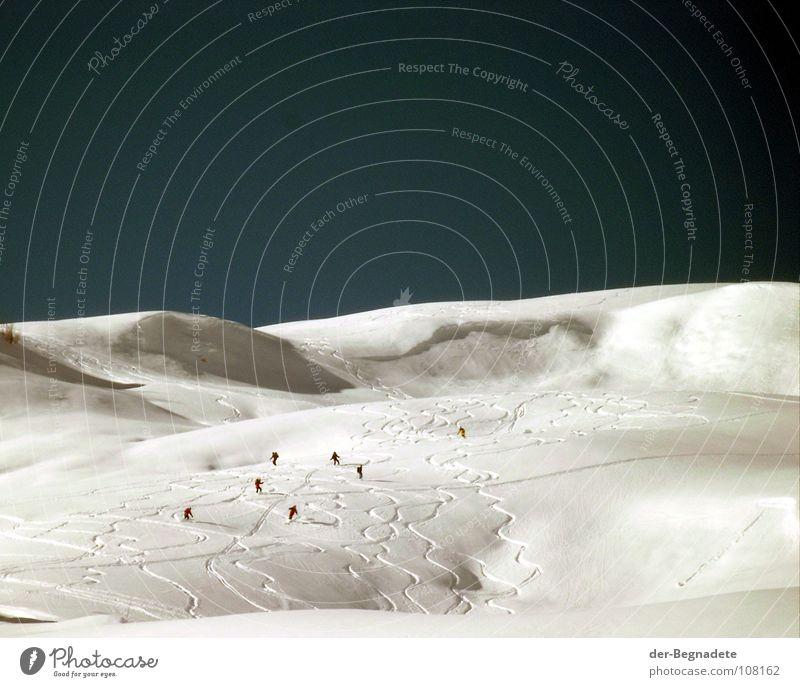 Tiefschneefahrer Winter Februar kalt Neuschnee Winterurlaub Kanton Graubünden Schweiz Hügel Bergkuppe Horizont weiß Wintersport Skifahrer 7 Bergkamm Berghang