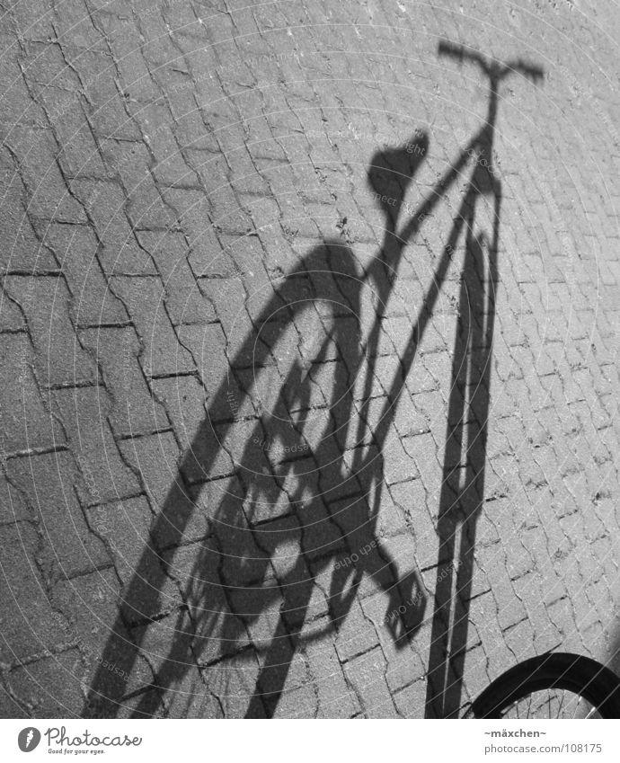 Schattenrad weiß schwarz ruhig Straße Spielen Stein Linie Fahrrad stehen fahren Bar Backstein Kopfsteinpflaster Rad Rahmen Kette