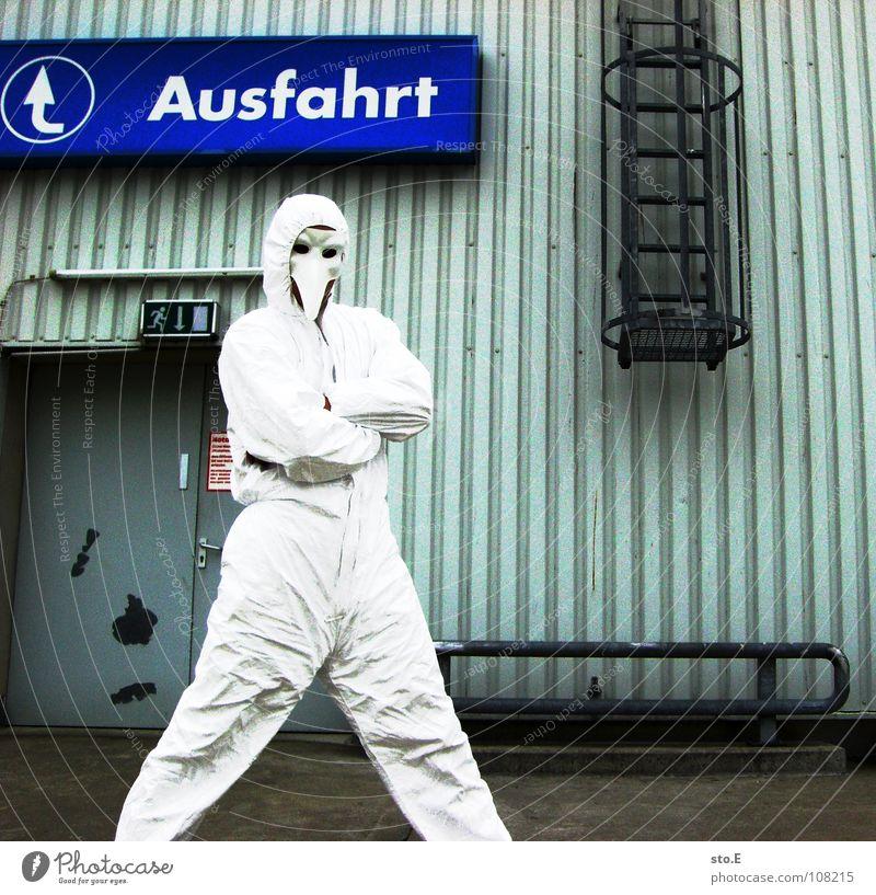 abschlussposing pt.2 Kerl Aktion Anzug weiß Sicherheit Schutzanzug Arbeitsbekleidung Pentium Arbeitsschuhe Stahlkappe Maske Schutzmaske Atemschutzmaske