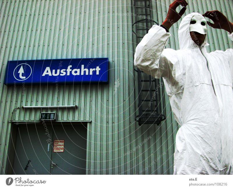 abschlussposing pt.3 Kerl Aktion Anzug weiß Sicherheit Schutzanzug Arbeitsbekleidung Pentium Arbeitsschuhe Stahlkappe Maske Schutzmaske Atemschutzmaske