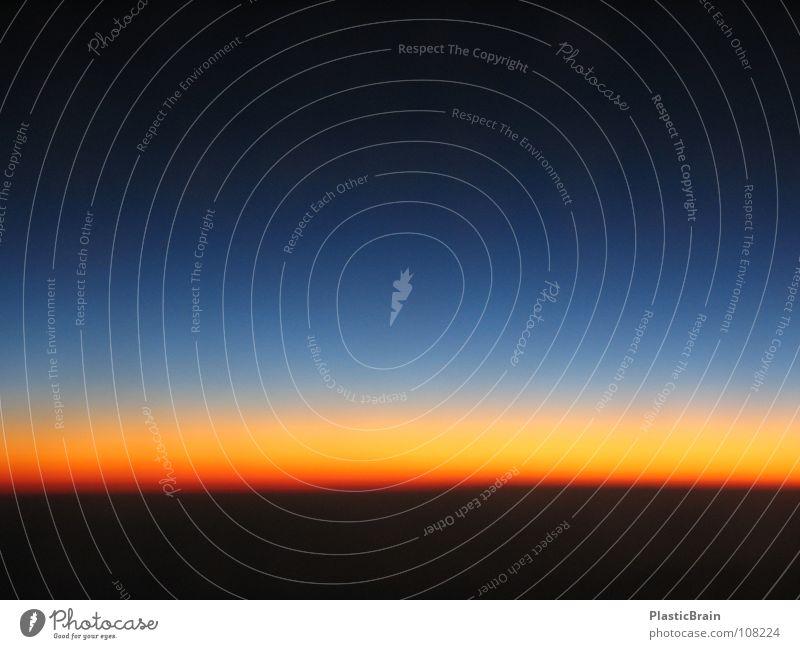 glühender horizont Sonnenuntergang Flugzeug Vogelperspektive Horizont Himmelskörper & Weltall Luftverkehr glühender Horizont