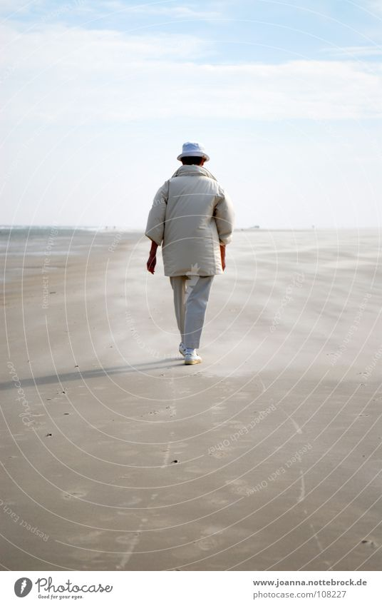 Spaziergang Mensch Frau Himmel Natur schön Ferien & Urlaub & Reisen Strand Farbe ruhig Ferne Erholung Tod Landschaft Leben Herbst Freiheit