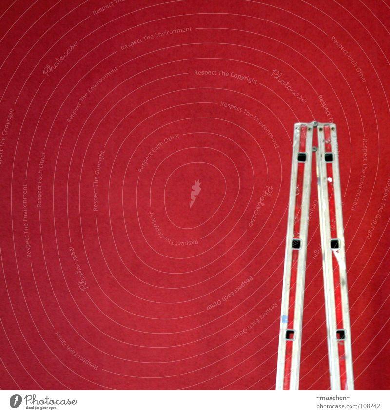 Renovieren rot ruhig Leben Arbeit & Erwerbstätigkeit hoch Treppe neu Reinigen Sauberkeit Tapete Loch Wohnzimmer Handwerk Wohlgefühl Leiter silber