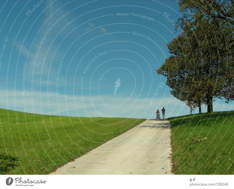Der Weg Mensch Himmel Baum grün blau Wiese Wege & Pfade Unendlichkeit unterwegs