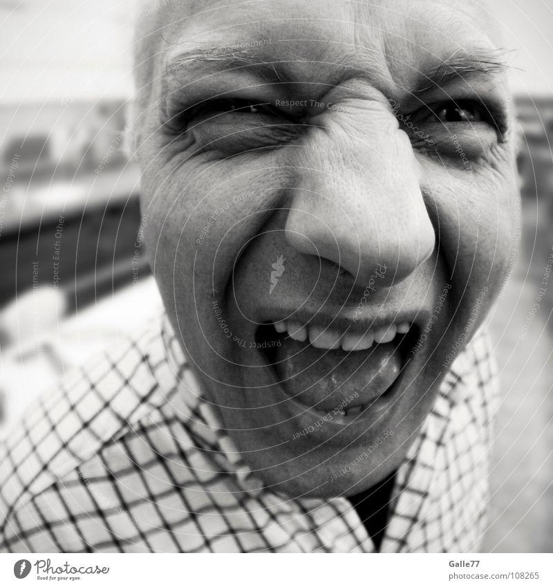 Häää? Mann Freude Gesicht lustig Perspektive schreien Gesichtsausdruck laut unheimlich Verzerrung Krach