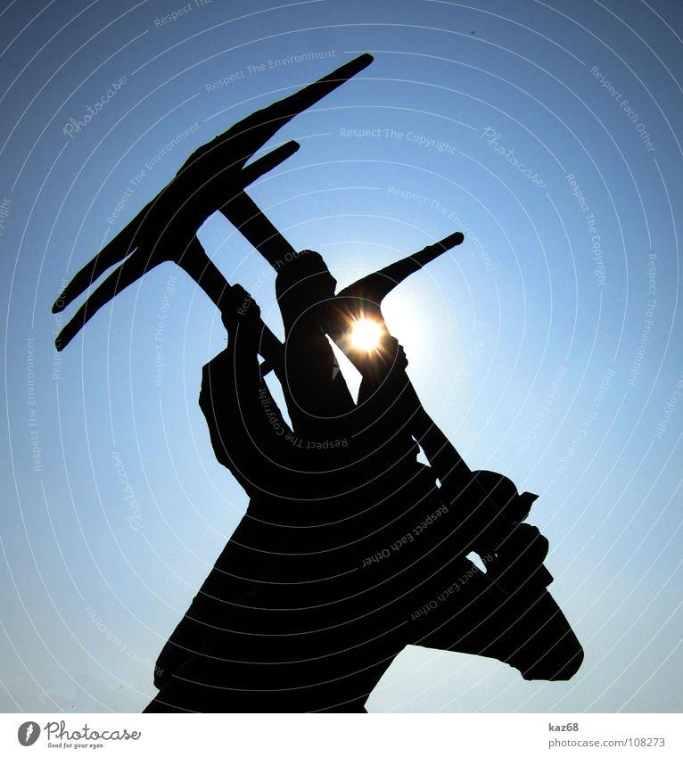 helden der arbeit Himmel Mann blau Sonne schwarz Arbeit & Erwerbstätigkeit Kraft Hintergrundbild Kohle 3 Energiewirtschaft Arbeiter Industrie Technik & Technologie stark Denkmal