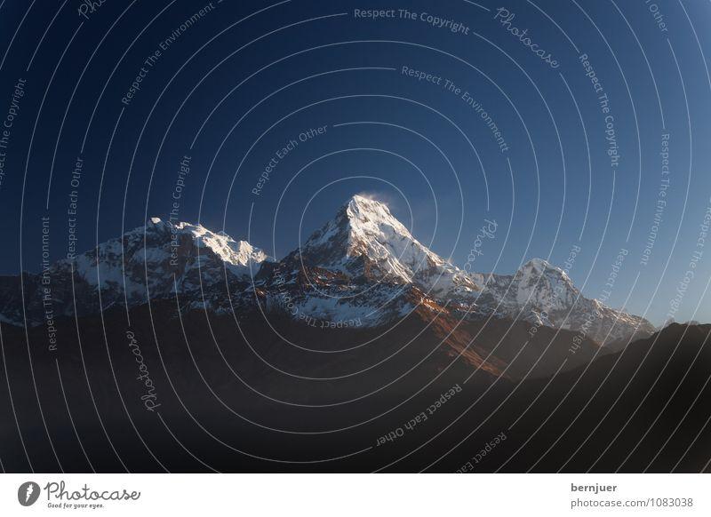 Sonnenaufgang Natur Ferien & Urlaub & Reisen blau weiß Sommer Landschaft kalt Umwelt Berge u. Gebirge Schnee natürlich Luft Wind Schönes Wetter Gipfel Ziel