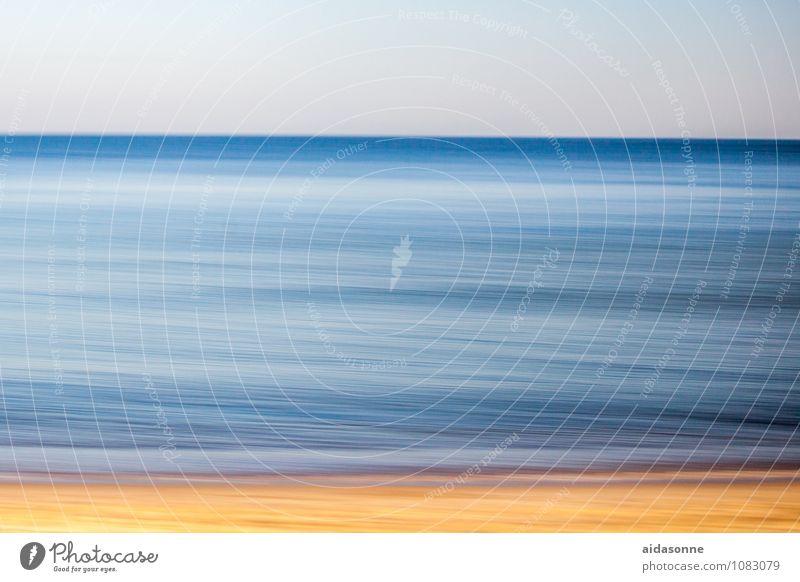 Ostsee Landschaft Wasser Wellen Strand achtsam Panning Fototechnik Mitläufer gelb blau Himmel (Jenseits) Farbfoto Außenaufnahme Menschenleer Hintergrund neutral