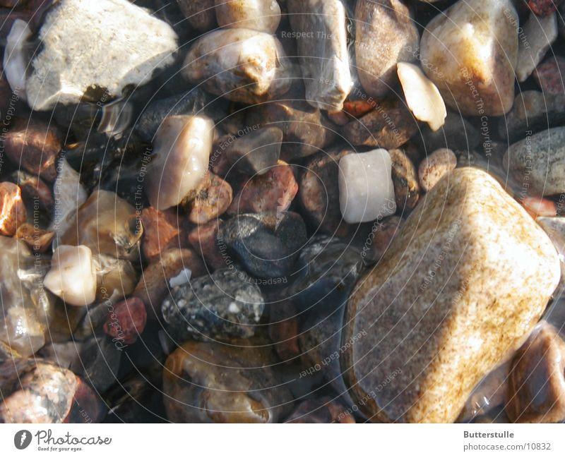 Steine im Wasser Kies Elbstrand