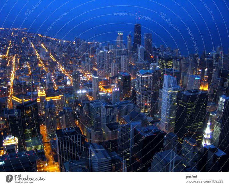 Downtown Chicago Himmel Stadt Haus Straße Leben dunkel oben hell Hochhaus USA unten Amerika Stadtzentrum Chicago Sears Tower