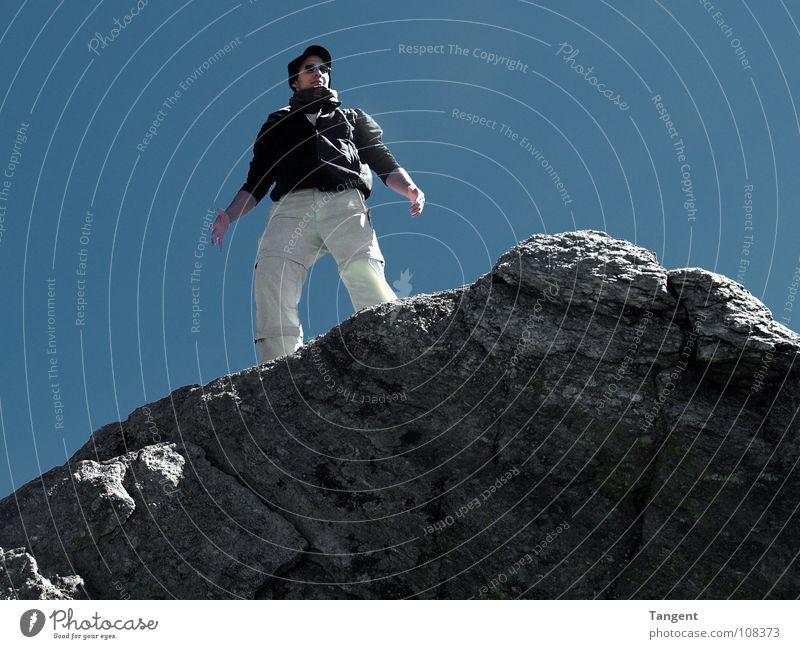 Geschafft ! Jugendliche Himmel blau Wand Berge u. Gebirge grau Stein Felsen Schweiz Klettern Vertrauen Alpen Gipfel Schönes Wetter Bergsteigen fertig