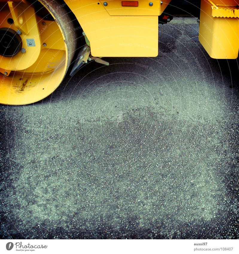 Walzing Mathilda gelb Straße Arbeit & Erwerbstätigkeit Beton Industrie Baustelle Asphalt Bauarbeiter graphisch Arbeiter Sanieren Walze aufräumen Hausbau