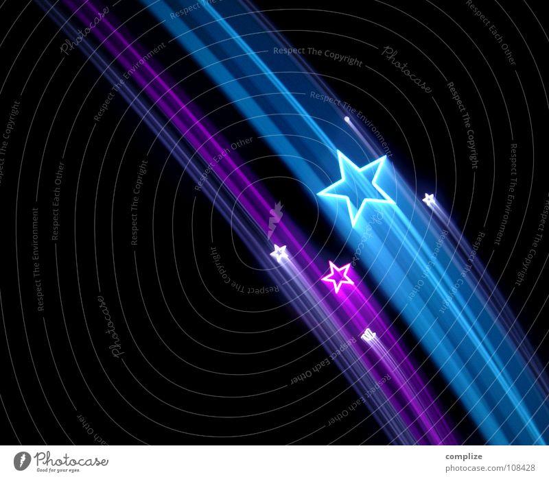 sorry my stars 01 blau Weihnachten & Advent dunkel schwarz Kunst Design leuchten Stern (Symbol) Streifen Postkarte violett Kitsch Silvester u. Neujahr Jahr Siebziger Jahre Lightshow